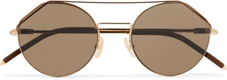 Fendi Aviator-Style Gold-Tone And Matte-Acetate Sunglasses