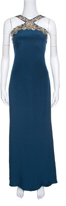 Notte by Marchesa Peacock Blue Embellished Silk Maxi Dress S