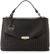 Versace Woven Leather Slouchy Tote Bag, Nero