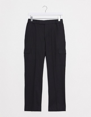ASOS DESIGN smart skinny pants in black with cargo pockets and elasticated waist