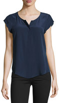 Joie Iva Cap-Sleeve Silk Blouse, Dark Navy