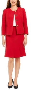 Le Suit Crewneck Flare-Hem Skirt Suit