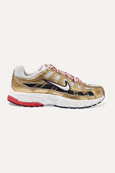 Nike P-6000 Metallic Leather And Mesh Sneakers - Gold