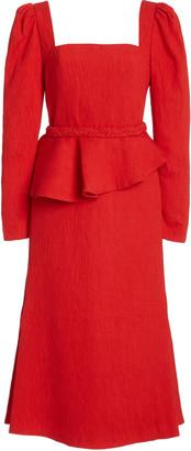 Johanna Ortiz Exclusive Catalyst Crepe Peplum Midi Dress