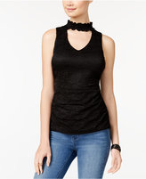 Amy Byer Juniors' Lace Choker Top
