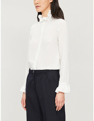 Claudie Pierlot High-neck frilled-trim crepe shirt