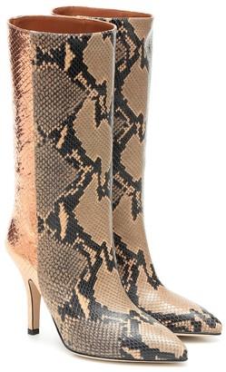 Paris Texas Metallic snake-effect leather boots