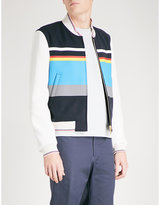 Thom Browne Striped Wool And Leather Bomber Jacket