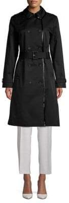 Kate Spade Pleather Trim Trench Coat