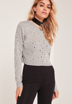 Missguided Grey Distressed Cropped Sweater