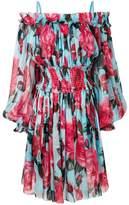 Dolce & Gabbana cold shoulder rose print dress