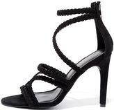 Glaze Stillness is the Move Black Suede Caged Heels