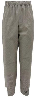 Comme des Garçons Comme des Garçons Glen-check Asymmetric-cuff Wool-blend Trousers - Grey
