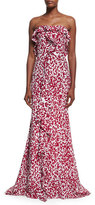 Oscar de la Renta Strapless Leaf-Print Silk Crepe Gown, White/Red