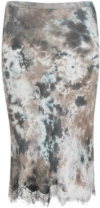 Gold Hawk Lace-Hem Tie-Dye Satin Skirt