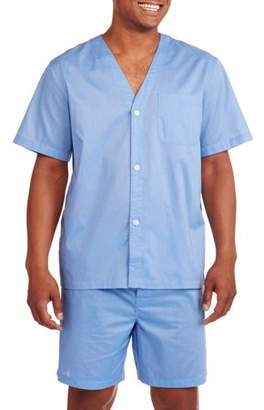 Fruit of the Loom Big & Tall Men's Short Sleeve, Knee-Length Pant Solid Pajama Set