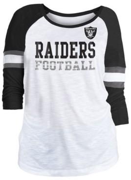 5th & Ocean Women's Oakland Raiders Three-Quarter Sleeve Slub Raglan T-Shirt