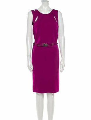 Gucci Crew Neck Knee-Length Dress Pink