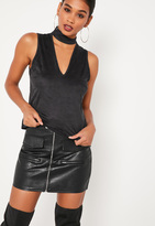 Missguided Black Faux Suede Choker Neck Tank Top