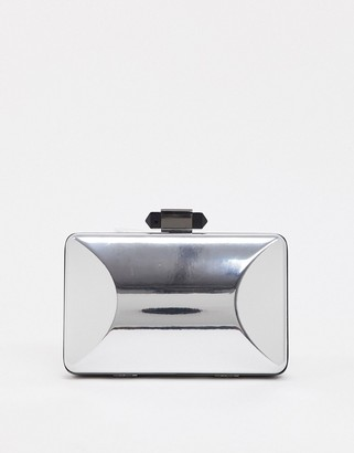 True Decadence structured clutch bag in mirrored silver