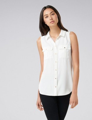 Forever New Macie Button Pocket Collar Essential Top - Porcelain - xl