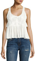 Current/Elliott The Lace Sleeveless Cotton Top, White