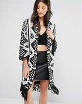 Glamorous Knitted Pattern Cardigan With Tassel Hem
