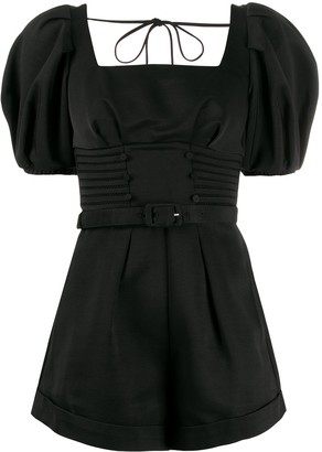 Self-Portrait Short-Sleeve Fitted Playsuit