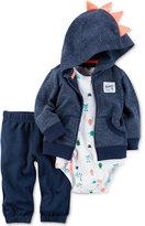 Carter's 3-Pc. Dino Spike Hoodie, Bodysuit & Pants Set, Baby Boys (0-24 months)