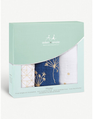 Aden Anais Metallic Gold Deco Musy cotton muslin squares set of three