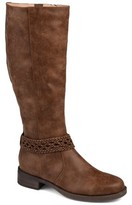 Brinley Co. Womens Extra Wide Calf Braided Strap Riding Boot