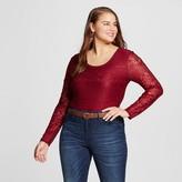 Born Famous Women's Plus Size Lace Bodysuit T-Shirt Red