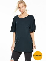 Miss Selfridge Frill Sleeve Lattice Back Cupro Tunic - Black