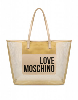 Love Moschino Transparent Mesh Shopper Woman Gold Size U It - (one Size Us)