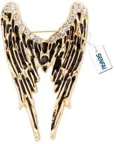 SENFAI Latest Rhinestone Angel Wings Lapel Pin Retro Style Brooch Unisex Jewelry (Antique gold)