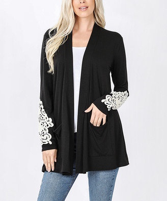 Lydiane Women's Open Cardigans BLACK - Black Lace Sleeve-Accent Pocket Open Cardigan - Plus