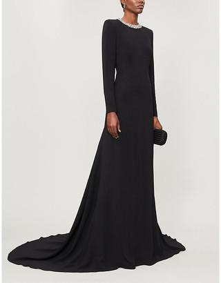 Stella McCartney Embellished backless stretch-crepe gown