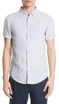 Onia Men's Trim Fit Microstripe Linen Shirt