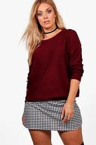 boohoo Womens Plus Tanya Boxy Scoop Neck Jumper