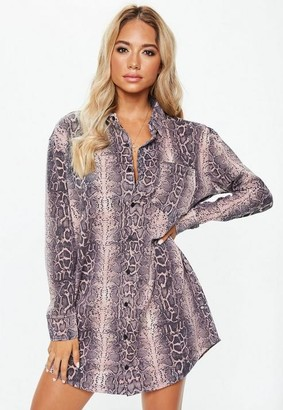 Missguided Pink Snake Print Oversized Jersey Shirt Dress