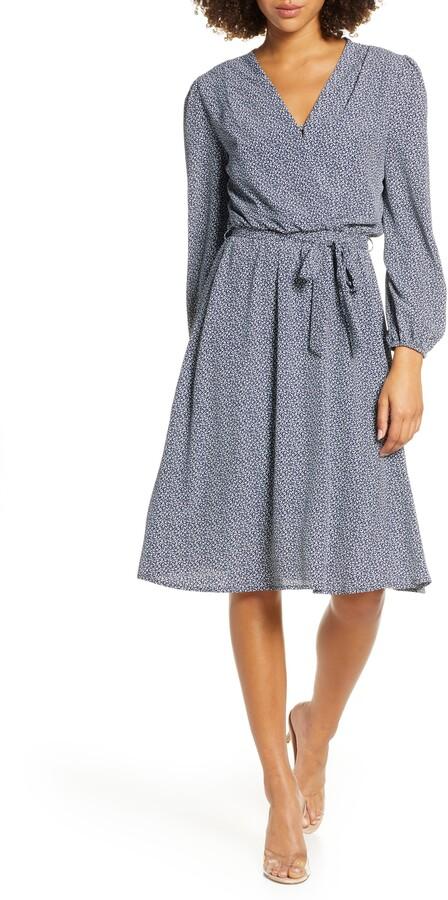 Fraiche by J Long Sleeve Faux Wrap Dress