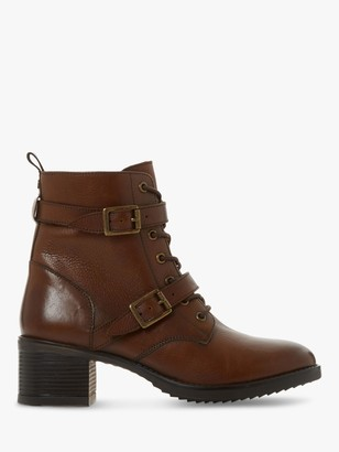 Dune Paxtone Leather Buckle Lace Ankle Boots, Dark Tan