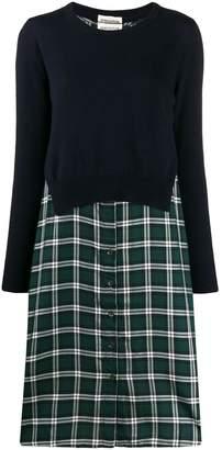 Semi-Couture Semicouture layered check print shirt dress
