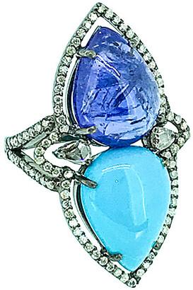 Arthur Marder Fine Jewelry Silver 6.35 Ct. Tw. Diamond & Gemstone Ring