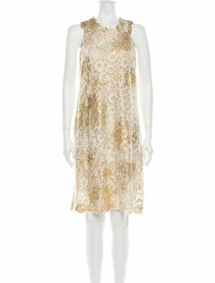 Silvia Tcherassi Crew Neck Knee-Length Dress Gold