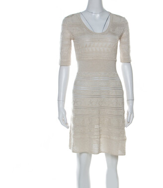 M Missoni Gold Lurex Knit Panelled Short Dress S