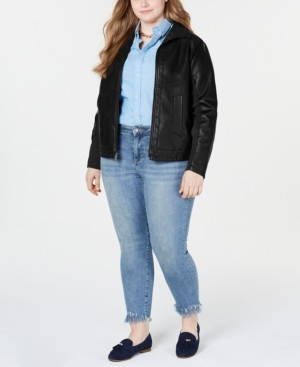 Kenneth Cole Plus Size Faux-Leather Jacket
