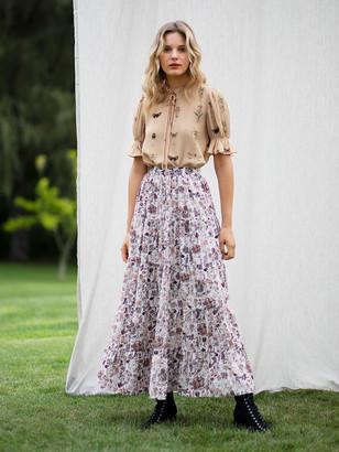 Diane von Furstenberg TVF Maple Crepe de Chine Maxi Skirt
