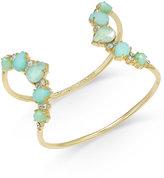 Kate Spade Gold-Tone Aqua Open Cuff Bracelet