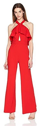 Bebe Women's Crepe Ruffle Front Halter Neck Jumpsuit with Lace Back